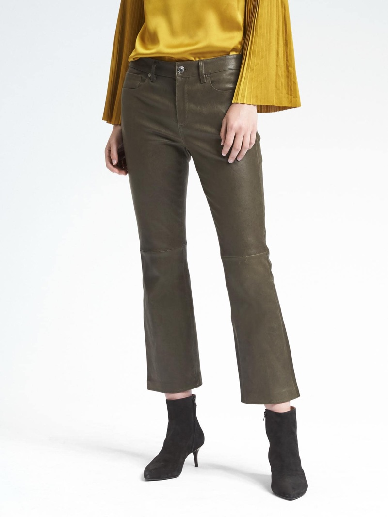 Banana Republic x Olivia Palermo Leather Crop Flare Pant $538