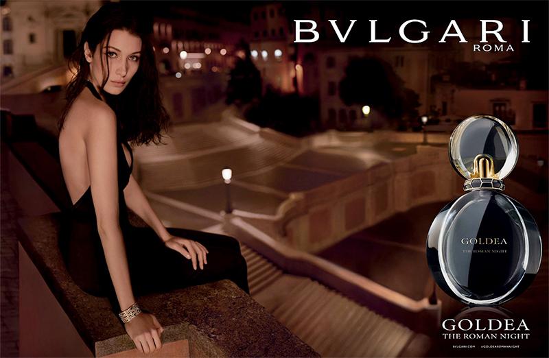 Bella Hadid fronts Bulgari Goldea Roman Night Fragrance campaign
