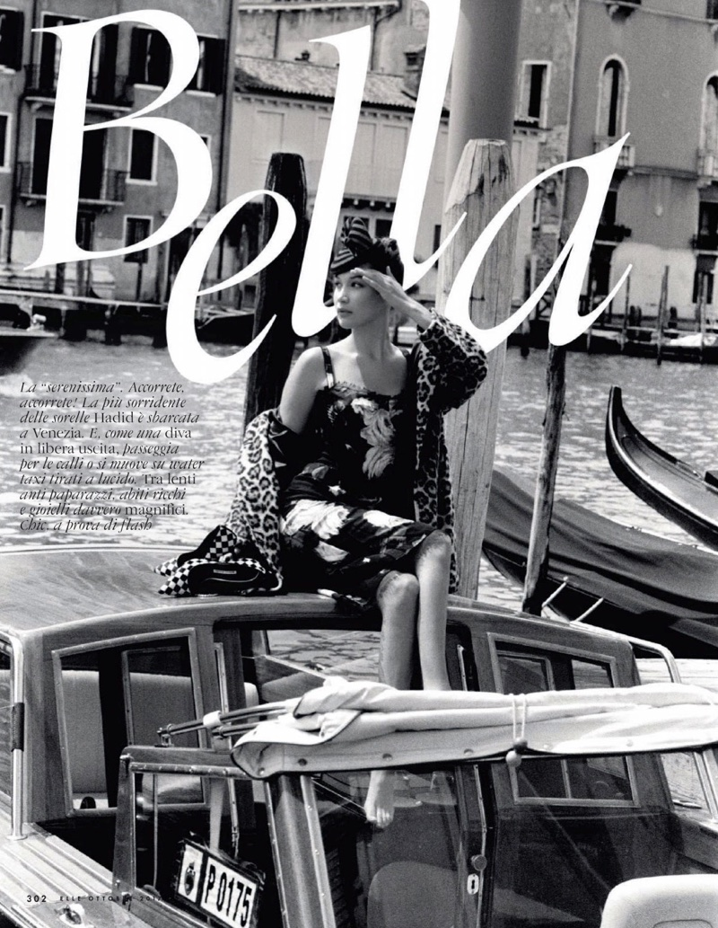 Bella Hadid Embraces Autumn Fashions in Venice for ELLE Italy