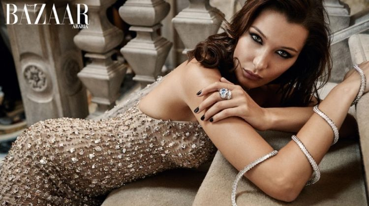 Bella Hadid Dazzles in Gowns & Gems for Harper's Bazaar Arabia
