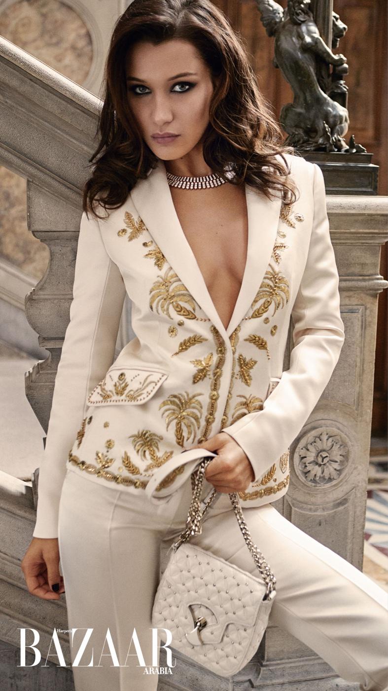 Bella Hadid Dazzles in Gowns & Gems for Harper's Bazaar Arabia