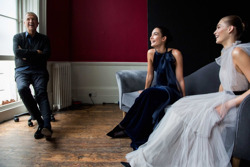 Mario Testino with models Lily Aldridge and Grace Elizabeth at Carolina Herrera's fall 2017 campaign shoot
