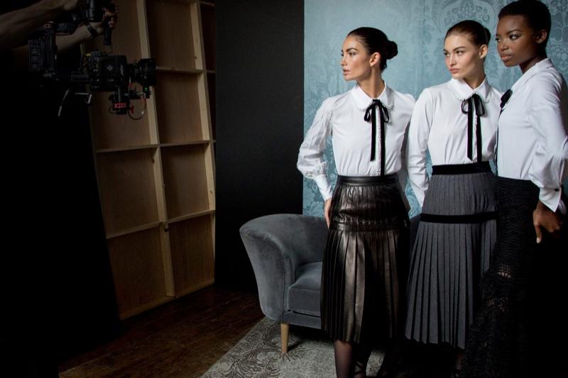 Models pose behind-the-scenes at Carolina Herrera fall-winter 2017 campaign shoot