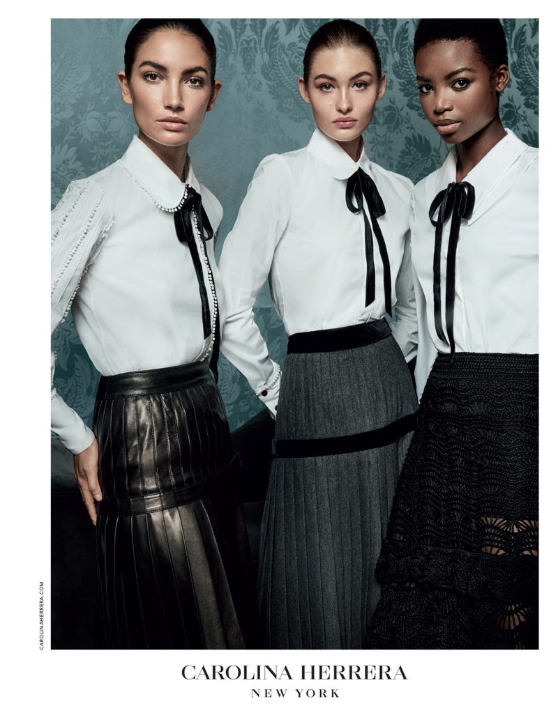 Lily Aldridge, Grace Elizabeth and Maria Borges star in Carolina Herrera's fall-winter 2017 campaign