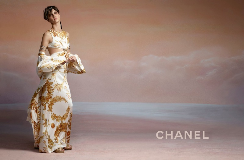 Marine Vacth wears romantic draping in Chanel's cruise 2018 campaign