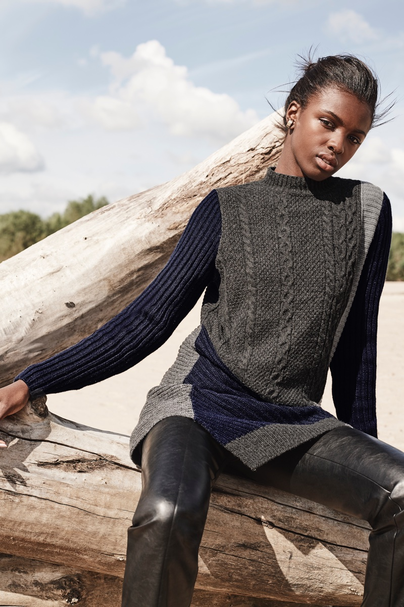 Leomie Anderson layers up in knitwear for Curatd x Long Tall Sally's fall-winter 2017 campaign