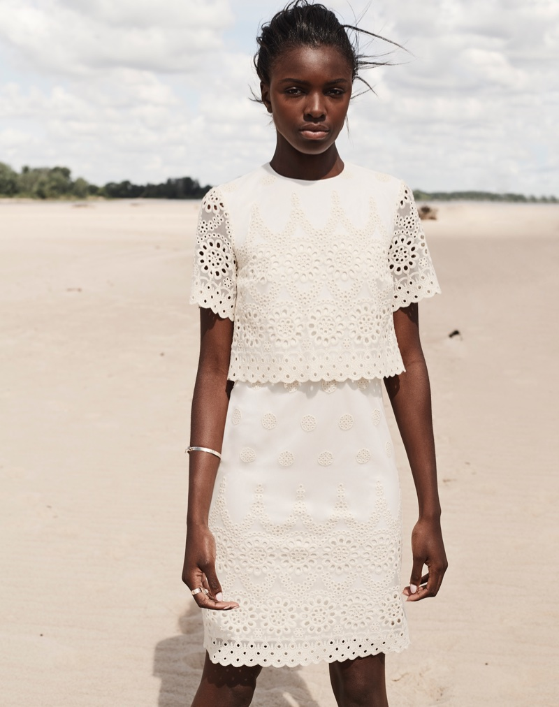 Leomie Anderson wears lace overlay dress in Curatd x Long Tall Sally's fall-winter 2017 campaign