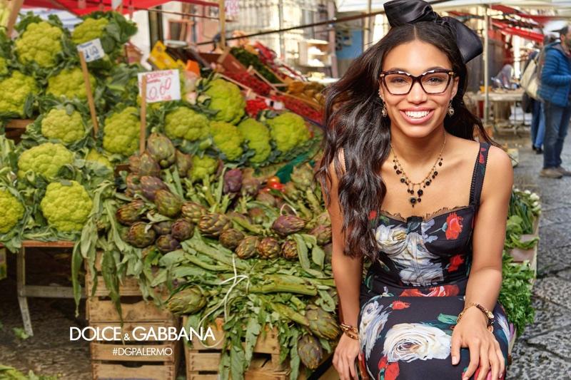 Corinne Foxx stars in Dolce & Gabbana Eyewear's fall-winter 2017 campaign
