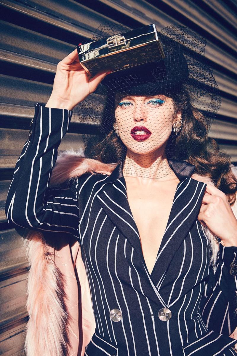 Model Emily DiDonato suits up in Elisabetta Franchi's fall-winter 2017 campaign