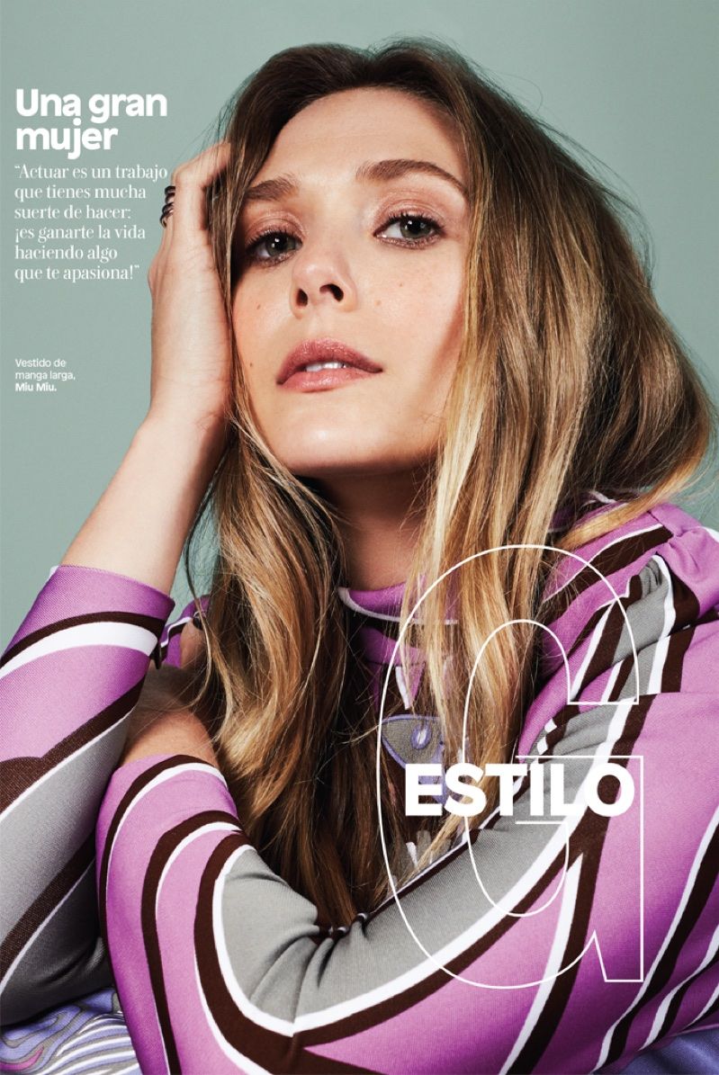 Elizabeth Olsen wears pink Miu Miu dress
