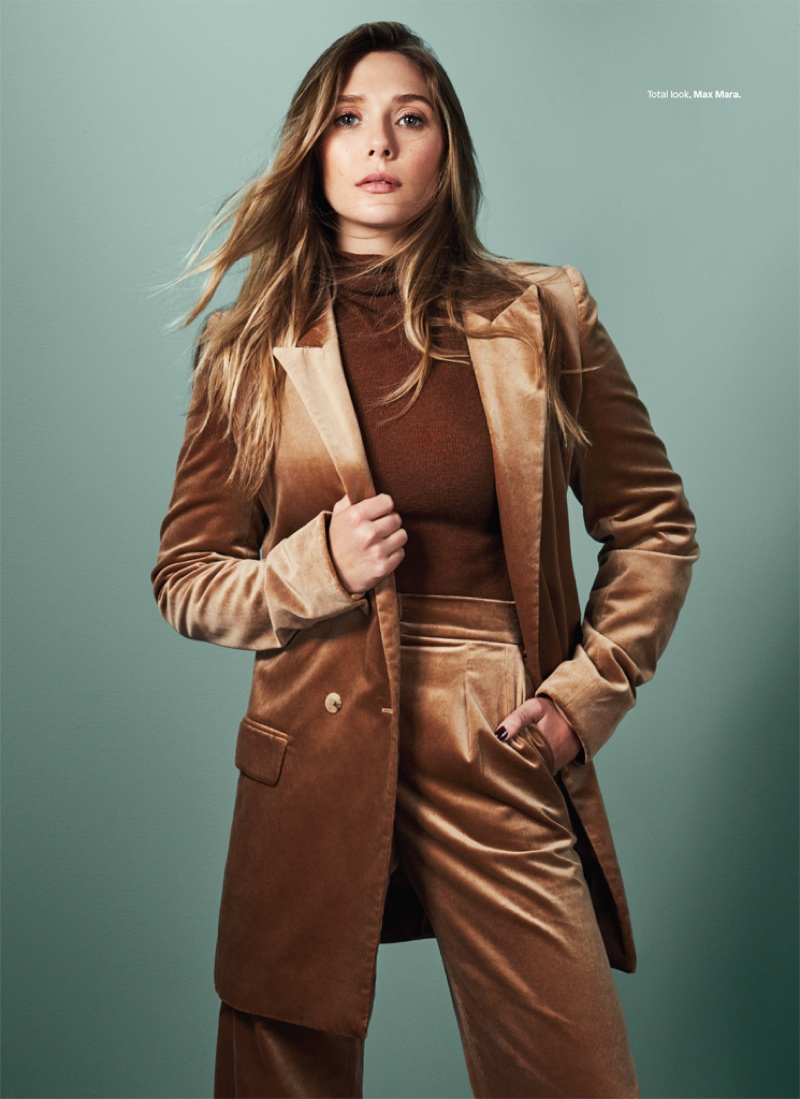 Suiting up, Elizabeth Olsen wears Max Mara pantsuit
