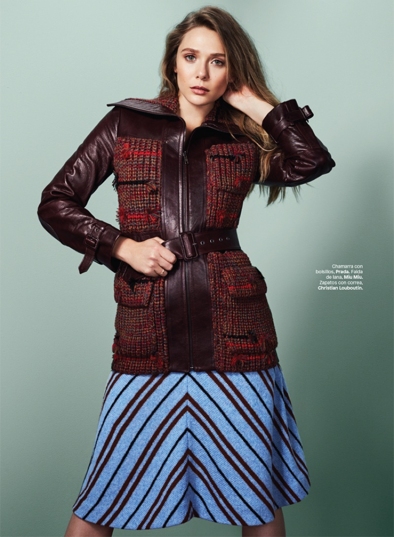 Elizabeth Olsen poses in Prada jacket and Miu Miu skirt