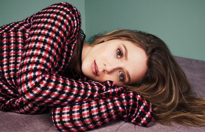 Actress Elizabeth Olsen models checkered top