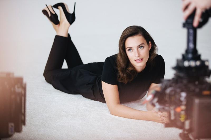 Ella Mills behind-the-scenes at Intimissimi campaign