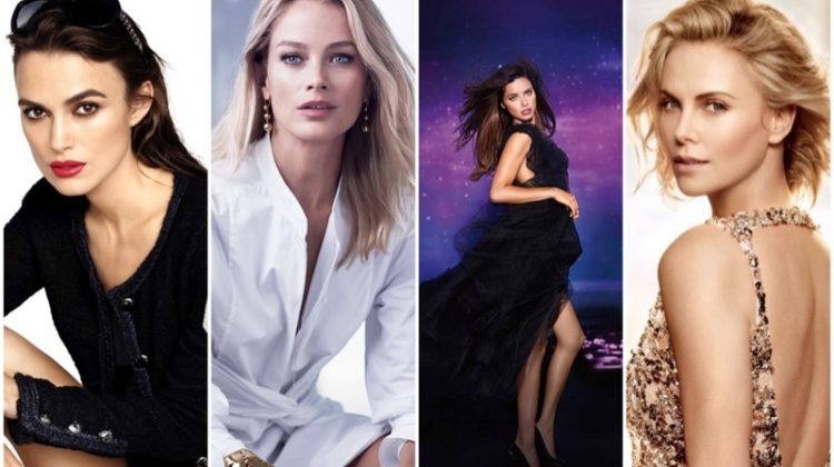 Discover some famous brand spokesmodels. (Left to Right) Keira Knightley, Carolyn Murphy, Adriana Lima and Charlize Theron