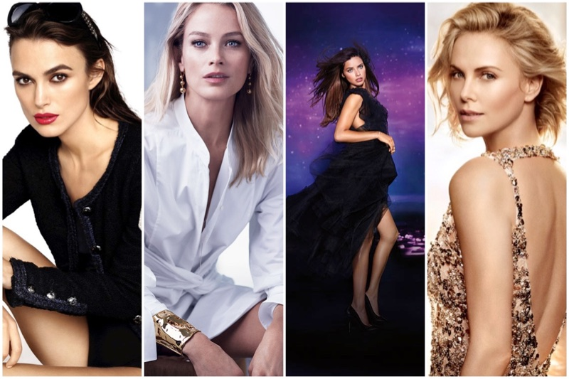 Discover famous brand spokesmodels. (Left to Right) Keira Knightley, Carolyn Murphy, Adriana Lima and Charlize Theron