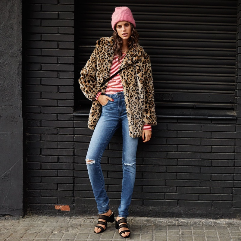H&M Faux Fur Jacket, Long-Sleeved Jersey Top, Skinny High Waist Jeans, Mohair-Blend Beanie and Suede Shoulder Bag