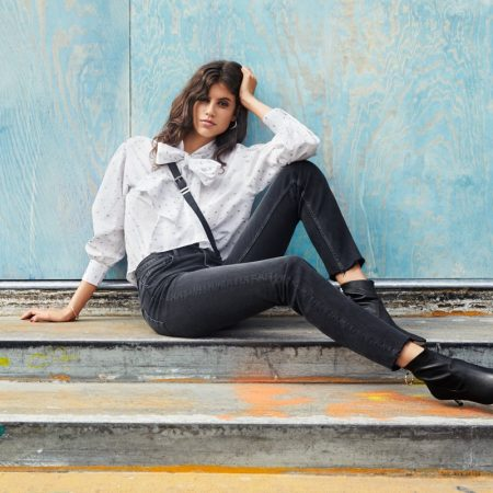 H&M Puffed Blouse and Straight High Ankle Jeans