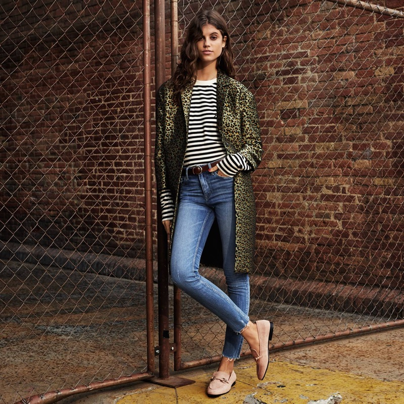 H&M Jacquard-Weave Coat, Long-Sleeved Top, Skinny Regular Ankle Jeans and Loafers
