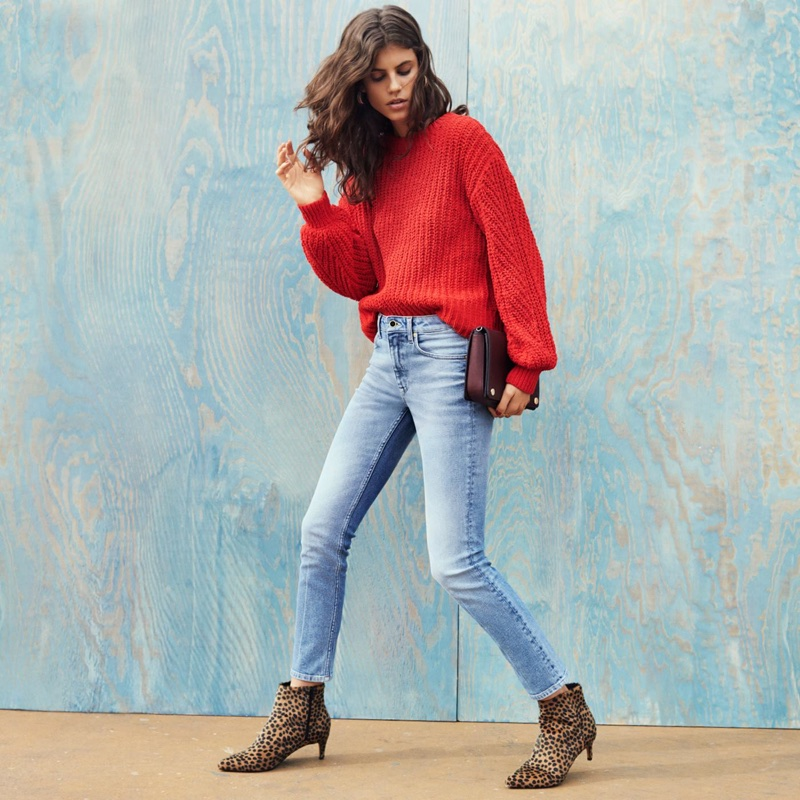 H&M Loose-Knit Sweater, Skinny High Ankle Jeans and Bag