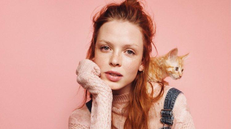 H&M Denim Bib Overalls and Knit Sweater