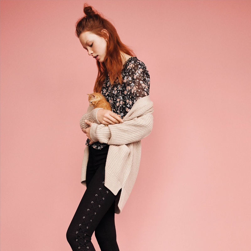 H&M Chiffon Blouse, Rib-Knit Cardigan and Twill Pants with Lacing