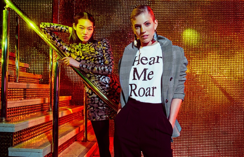 Chiharu Okunugi and Devon Windsor front H&M's fall 2017 campaign
