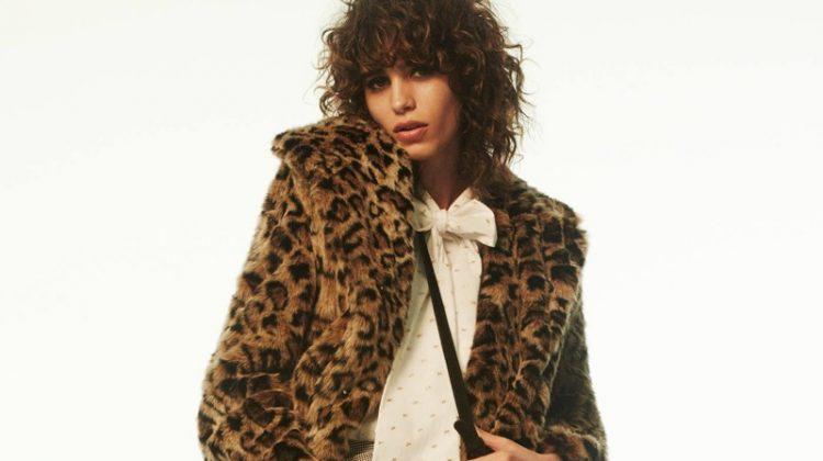 H&M Faux Fur Coat, Blouse with Tie, Short Skirt and Suede Shoulder Bag