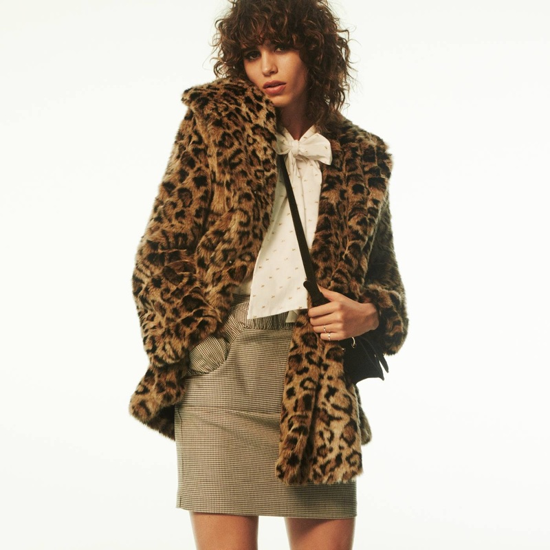 HM Faux Fur Coat Blouse With Tie Short Skirt And Suede Shoulder Bag