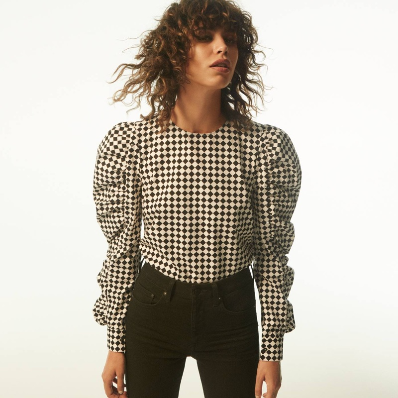 H&M Blouse with Studs and Slim High Ankle Jeans