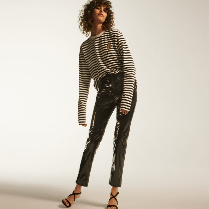 H&M Long-Sleeved Top, Pants and Suede Sandals