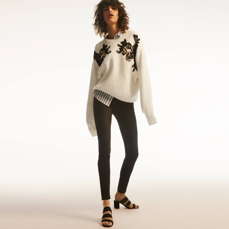 H&M Sequined Sweater, Cotton Shirt and Slim-Fit Pants with High Waist