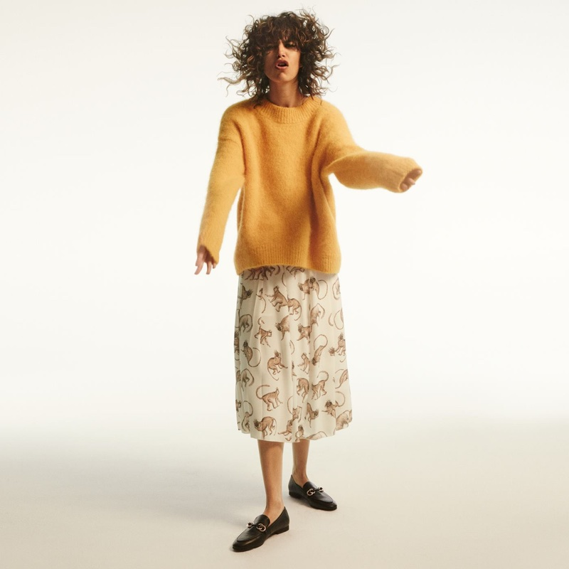 H&M Wool-Blend Sweater and Patterned Skirt