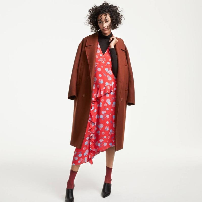 H&M Wool Coat, Ruffled Dress, Turtleneck Top and Slingbacks