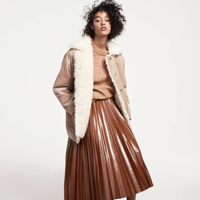 H&M Pile-Lined Corduroy Jacket, Knit Sweater and Pleated Skirt