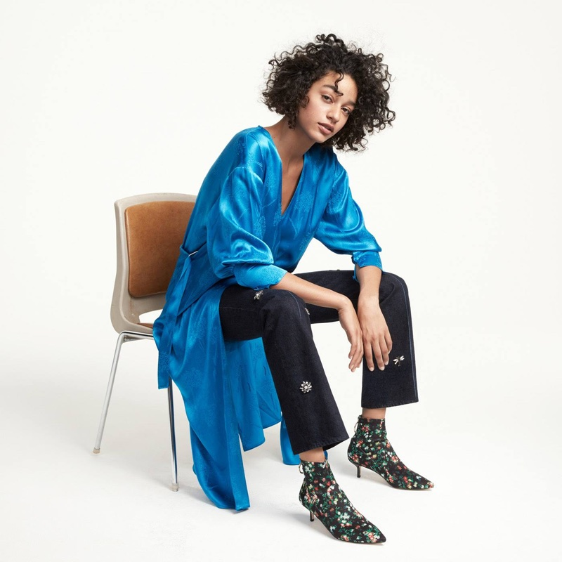 H&M Wrap Dress and Jeans with Beaded Appliqués