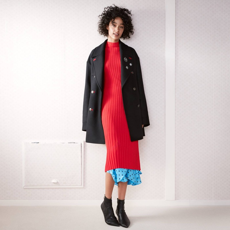 H&M Knit Dress, Jacquard-Weave Skirt and Leather Ankle Boots