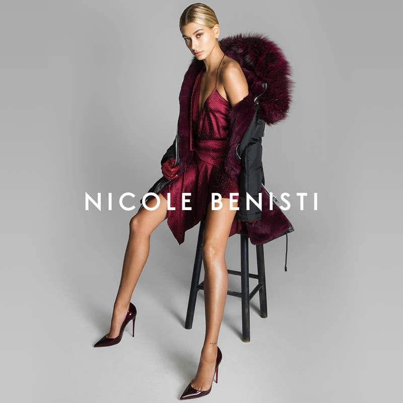 An image from Nicole Benisti's fall 2017 advertising campaign starring Hailey Baldwin