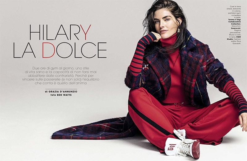 Hilary Rhoda Layers Up in Autumn Styles for Glamour Italy