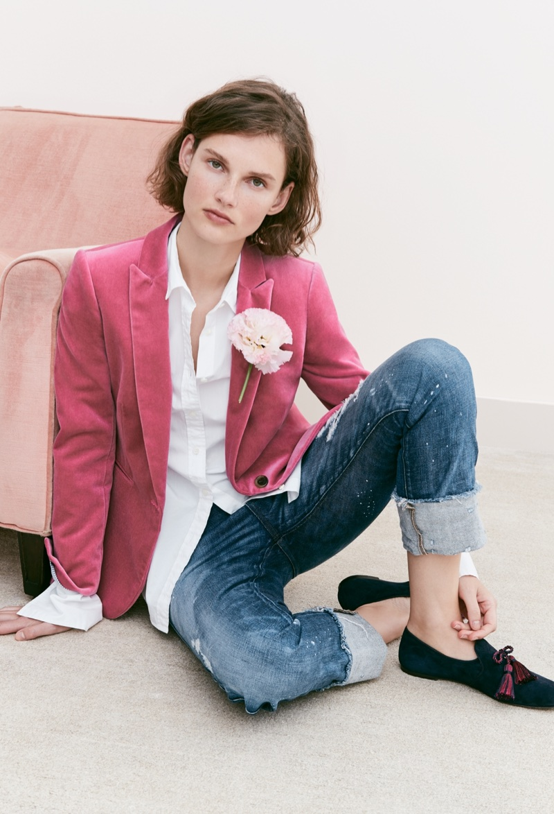 J. Crew Parke Blazer in Velvet, Thomas Mason for J. Crew Boy Shirt, Point Sur Relaxed Shoreditch Straight Jean and Suede Smoking Slippers