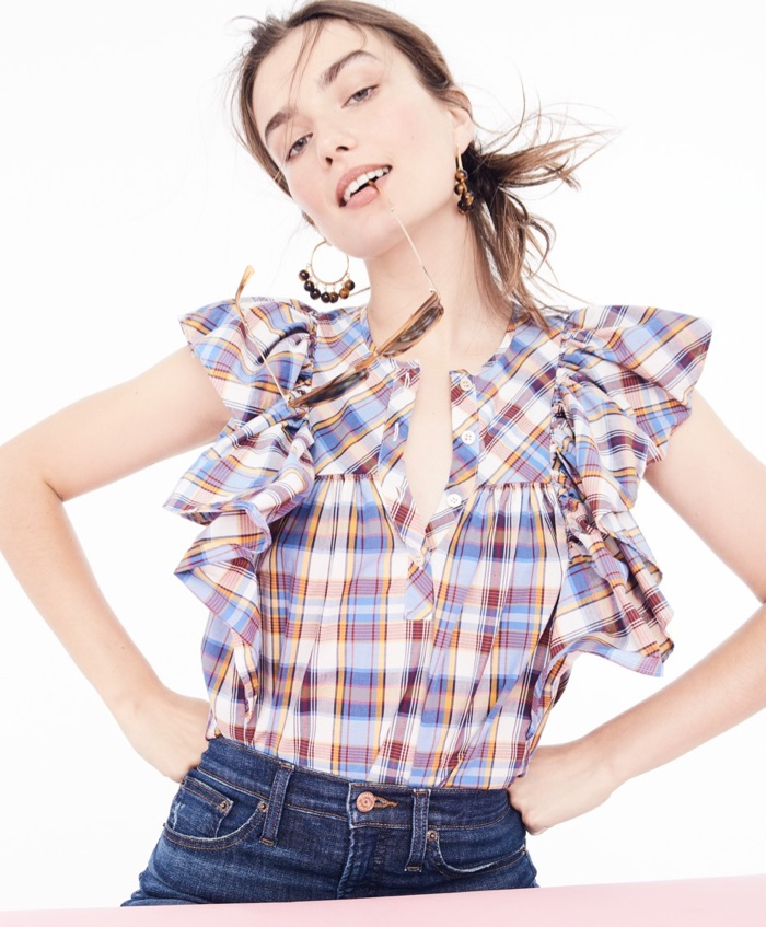 """J. Crew Ruffle Top in Vintage Plaid, Beaded Tortoise Hoop Earrings, 9"""" High-Rise Toothpick Jean in Lassiter Wash and Syd Sunglasses"""
