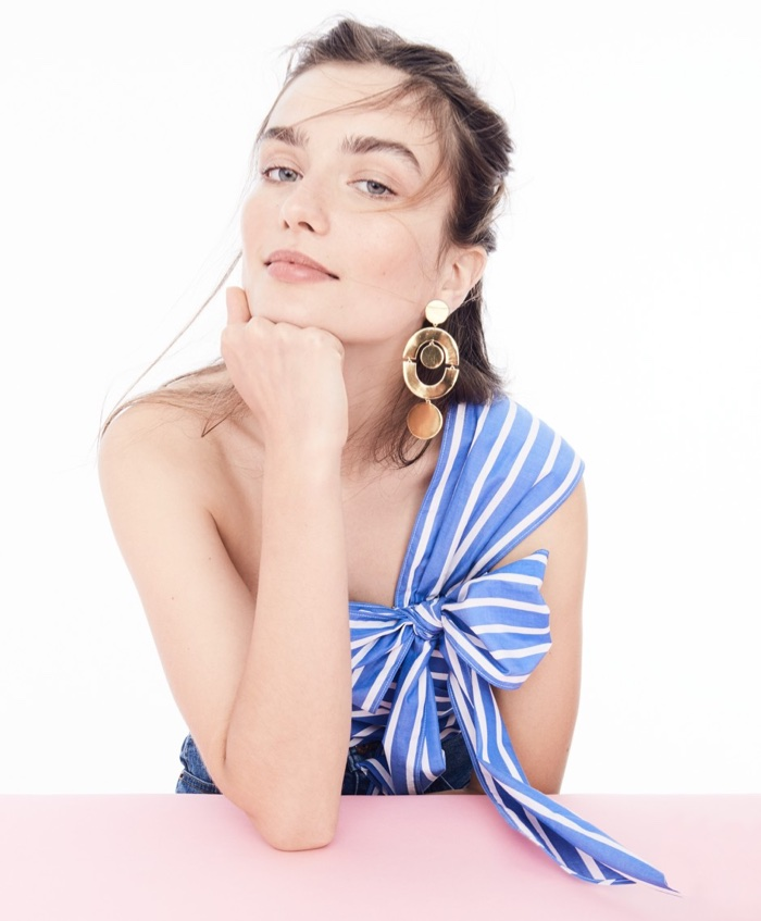 J. Crew One-Shoulder Bow Top in Stripe, Orbit Earrings and High-Rise Denim Short in Brixton Wash