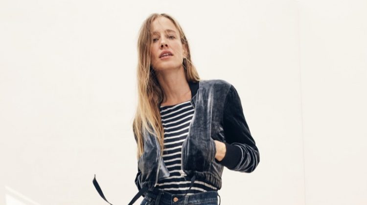 J. Crew Velvet Bomber Jacket, Striped Boatneck T-Shirt and Billie Demi-Boot Crop Jean in Loma Vista Wash