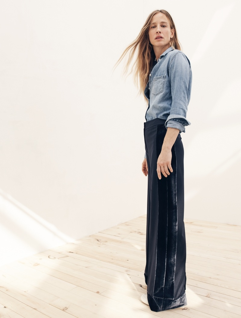 J. Crew Everyday Chambray Shirt, J. Crew Collection Wide-Leg Pant in Velvet and Tretorn Canvas T56 Sneakers