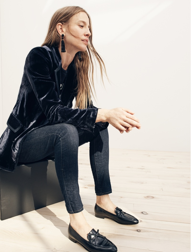 "J. Crew Collection Double-Breasted Velvet Blazer, Rue Saint Honoré Graphic T-Shirt, 9"" High-Rise Toothpick Jean in Resin Wash, Long Tassel Earrings and Academy Loafers in Leather"