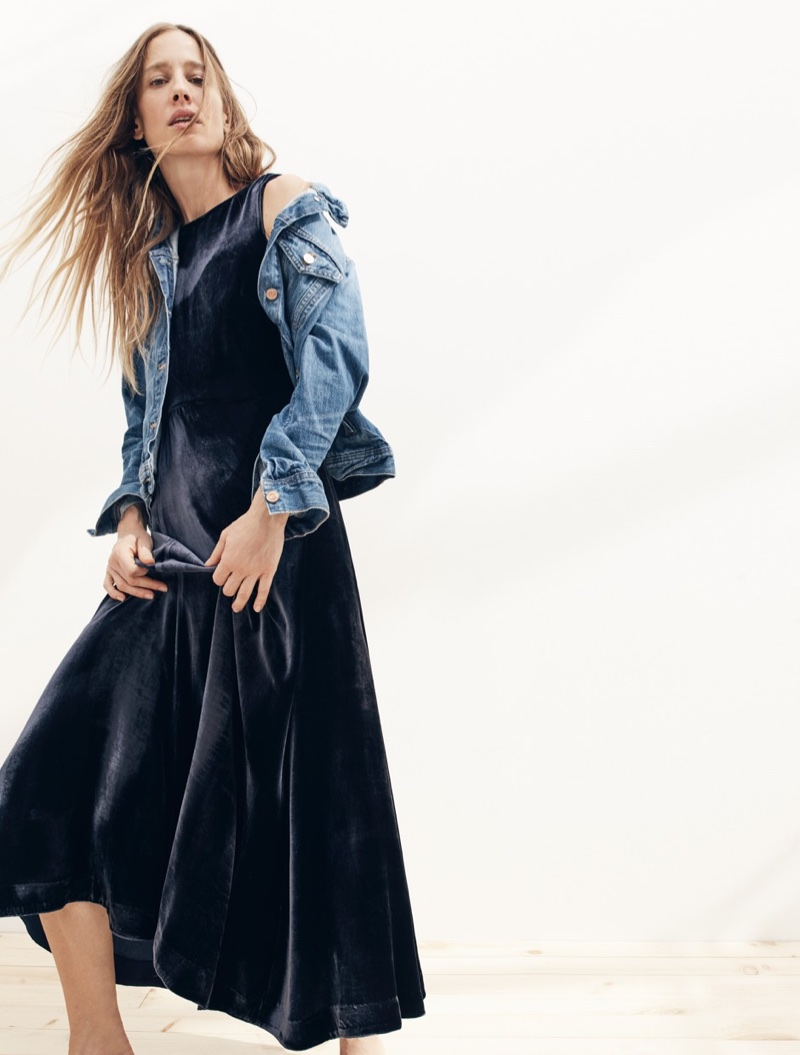 J. Crew Denim Jacket in Newton Wash, Collection Velvet Maxi Dress and Leather Loafer Mules