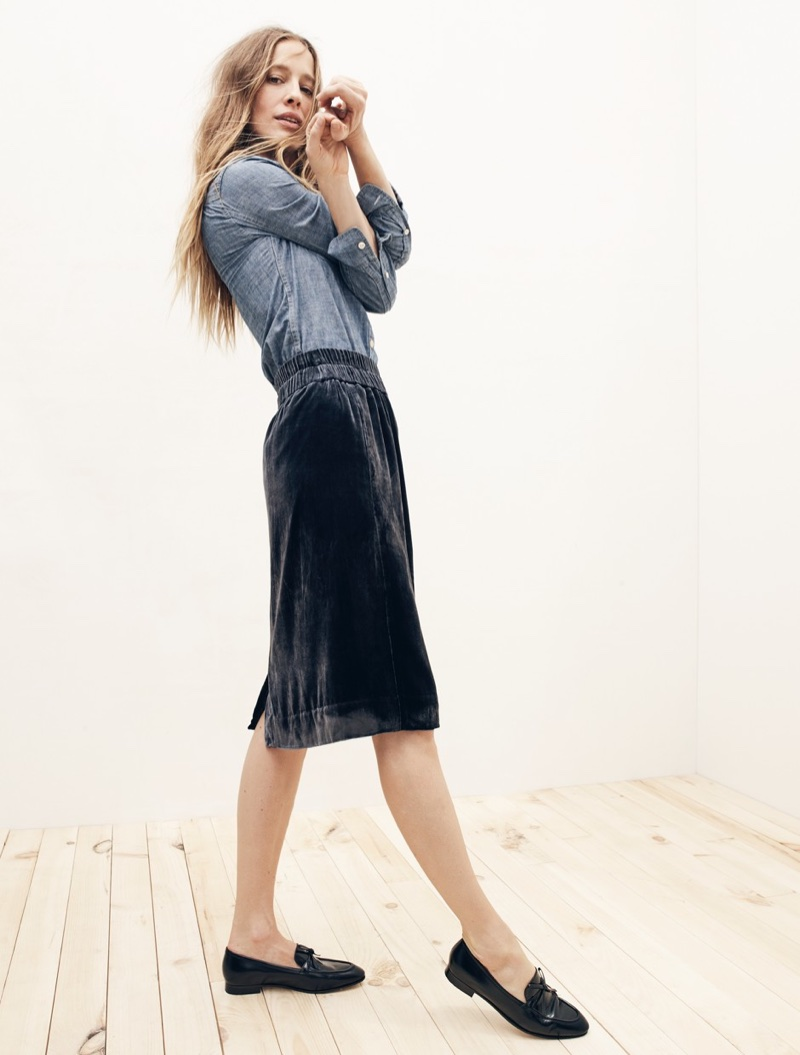 J. Crew Selvedge Chambray Shirt, Velvet Pull-On Skirt and Academy Loafers in Leather