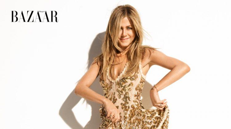 Actress Jennifer Aniston shines in gold Louis Vuitton dress with Giuseppe Zanotti sandals