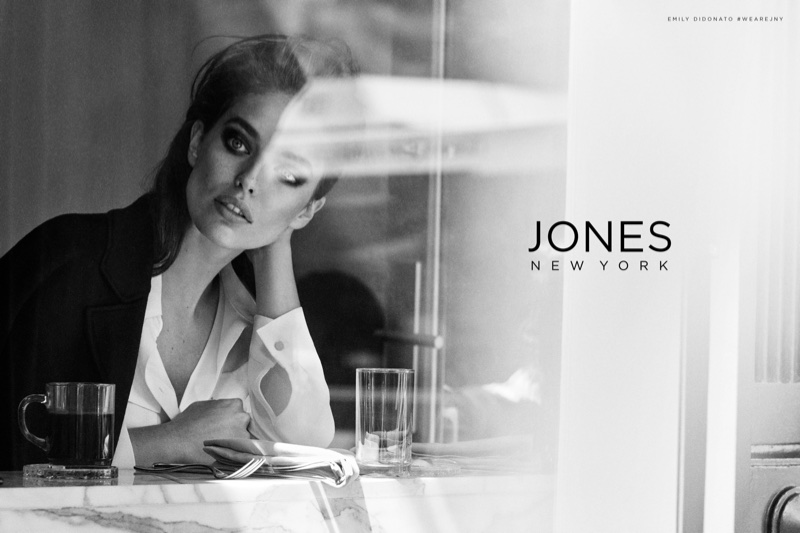 Photographed in black and white, Emily DiDonato fronts Jones New York's fall-winter 2017 campaign