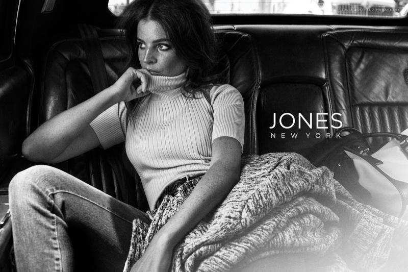 Julia Restoin Roitfeld poses in Jones New York fall-winter 2017 campaign